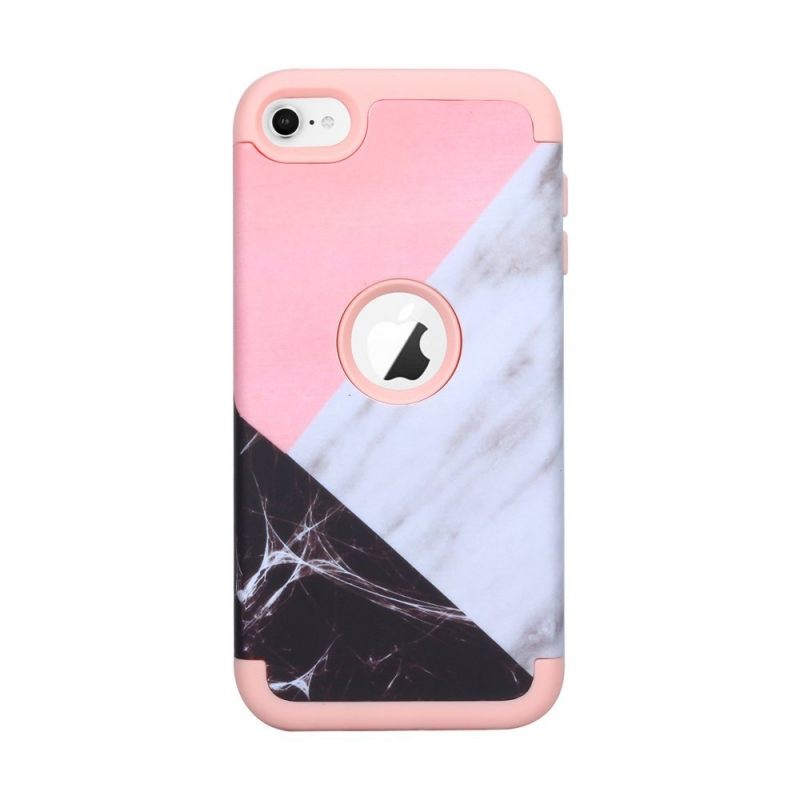 iPod Touch (5th/6th Generation) Hybrid Protector Marble Pattern Cover Pink/Black