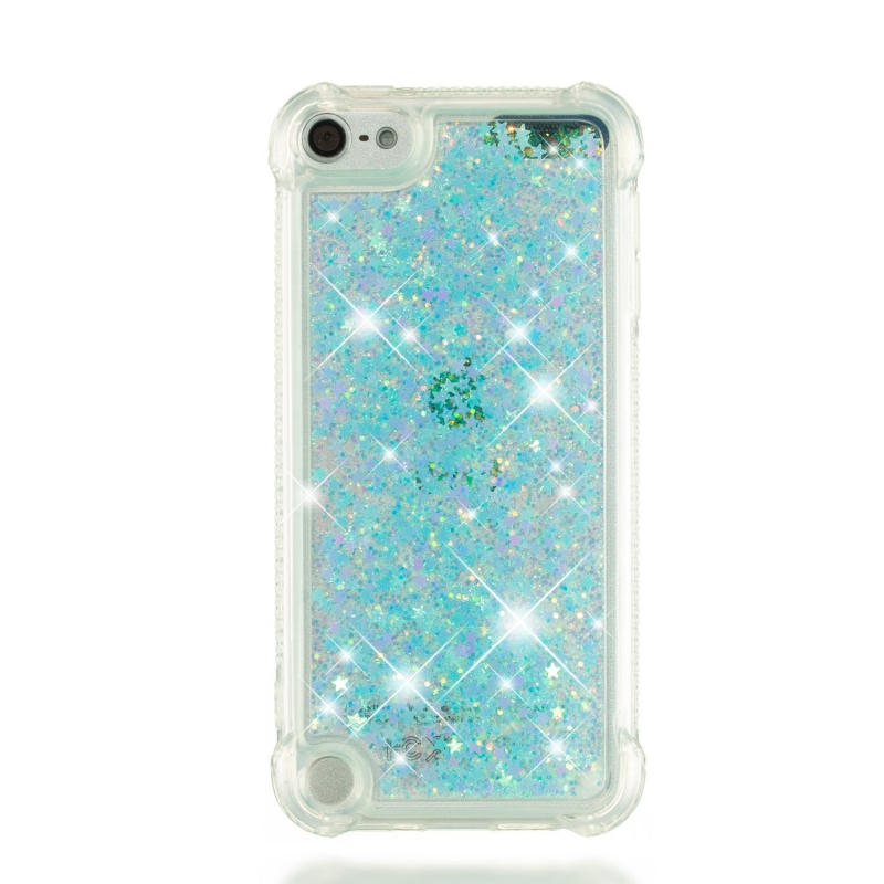 iPod Touch (5th/6th Generation) Glitter Liquid Clear Bling Case | Skyblue
