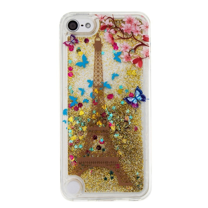 iPod Touch (5th/6th Generation) Glitter Liquid Clear Bling Case | Eiffel Tower