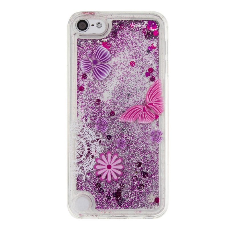 iPod Touch (5th/6th Generation) Glitter Liquid Clear Bling Case | Purple Butterfly
