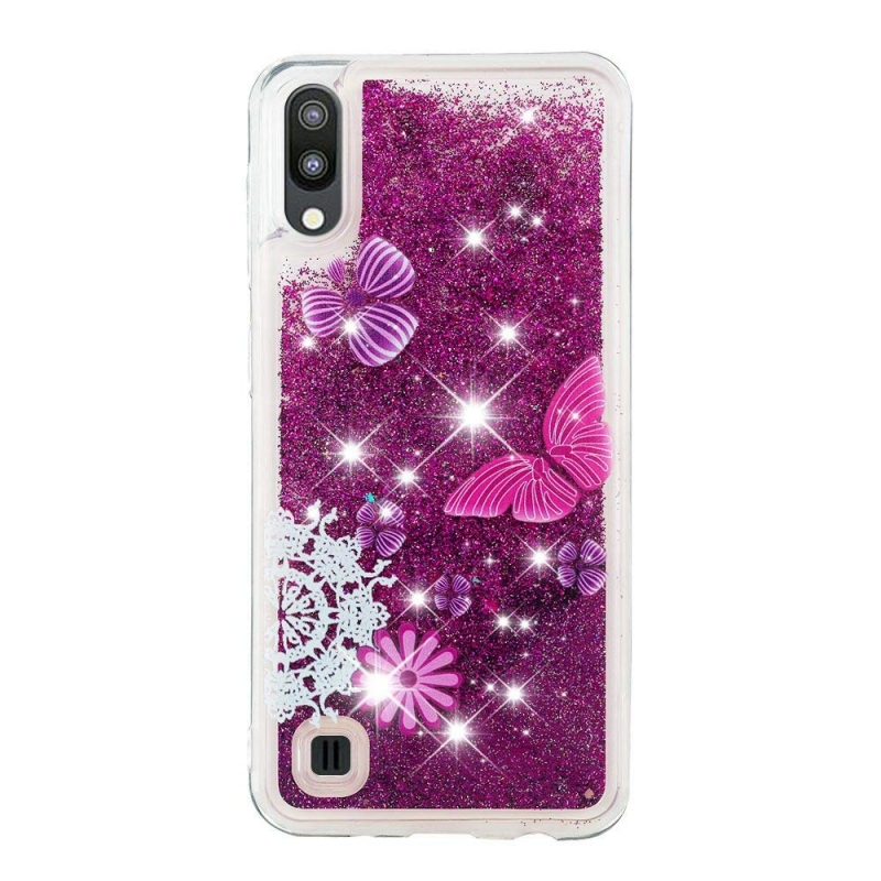 Samsung Galaxy A10 Liquid Glitter Case -Purple Butterfly
