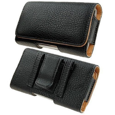 Black Leather Pouch Holster Case with Metal Belt Clip Fits 4.7 inch Size Phone