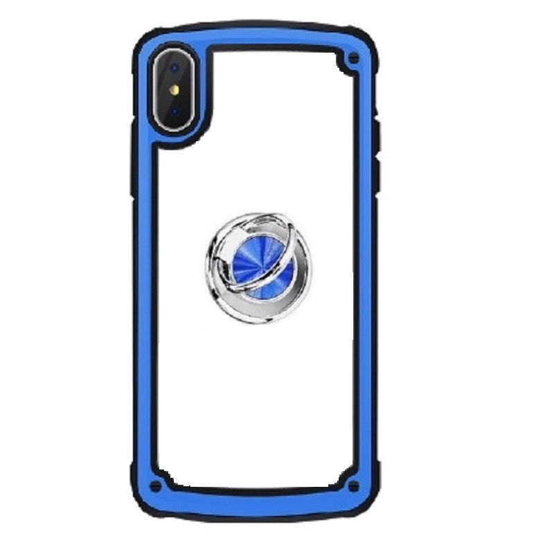 Samsung Galaxy A50 Clear Back Shockproof Cover With Ring Holder Blue