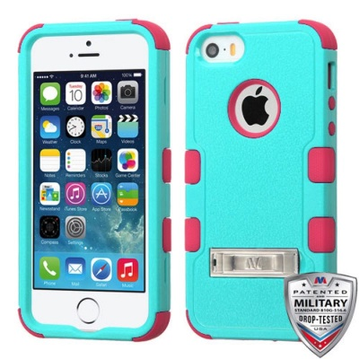 iPhone SE/5S/5 MyBat Natural Teal Green/Electric Pink TUFF Hybrid Phone Protector Cover (with Stand)