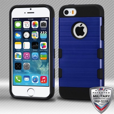 iPhone SE/5S/5 MyBat Dark Blue/Black Brushed TUFF Trooper Hybrid Protector Cover