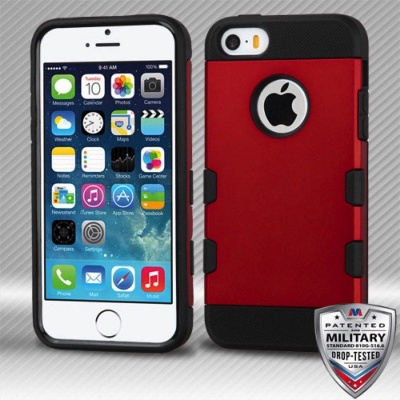 iPhone SE/5S/5 MyBat Red/Black Brushed TUFF Trooper Hybrid Protector Cover