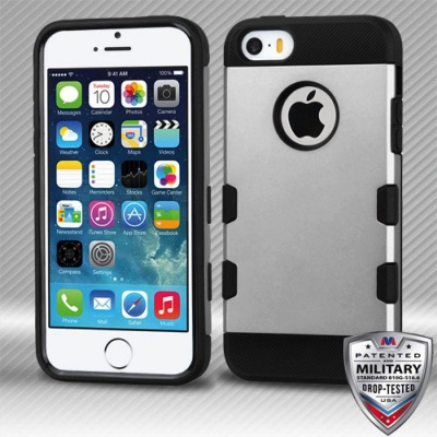 iPhone SE/5S/5 MyBat  Silver/Black Brushed TUFF Trooper Hybrid Protector Cover