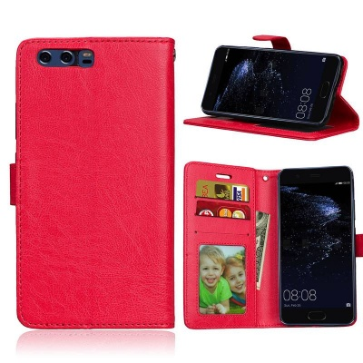 Huawei P10 PU Leather Wallet Case  Red
