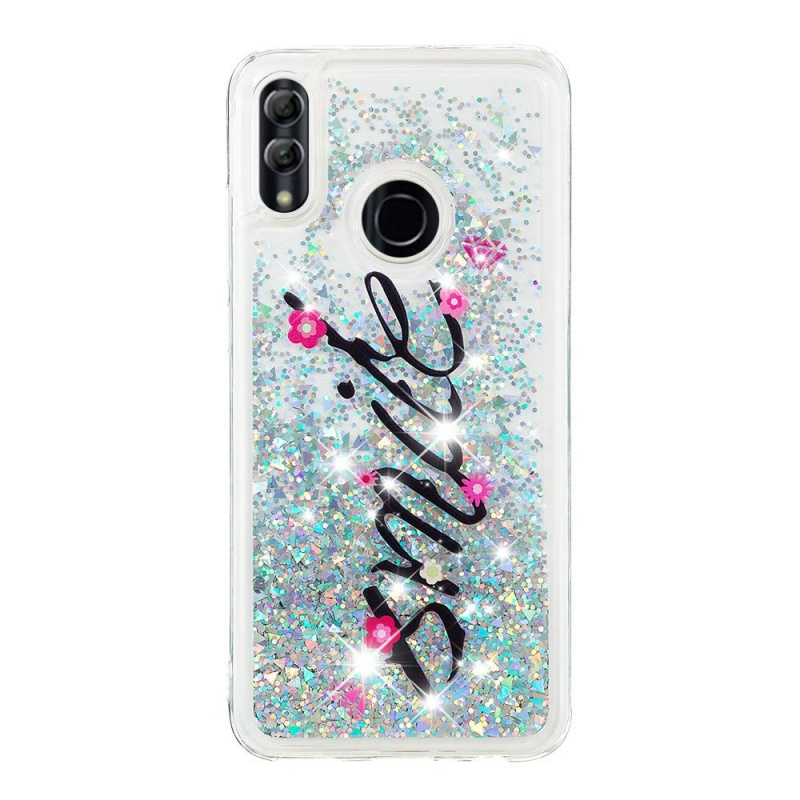 Huawei P Smart 2019 Liquid Glitter Case -Smile