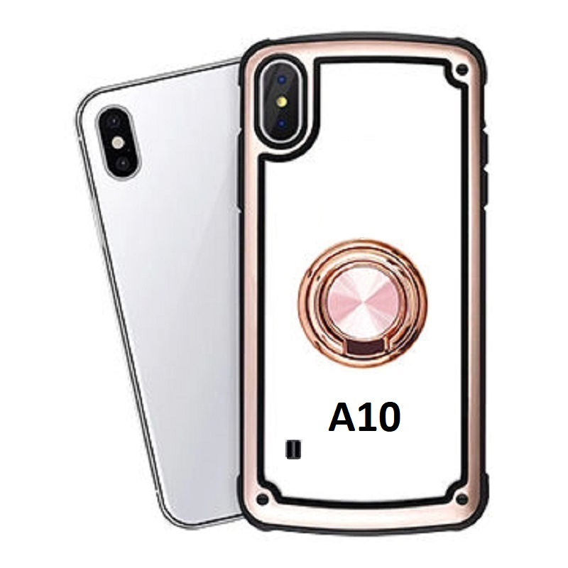 Samsung Galaxy A10 Clear Back Shockproof Cover With Ring Holder Rosegold