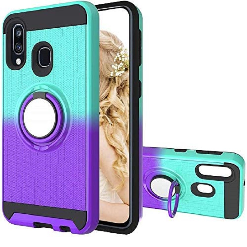 Samsung Galaxy A10 Multi Color Ring Armor Cover - Mint/Purple