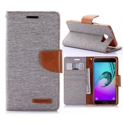 Samsung Galaxy A3(2016) Canvas Wallet Case  Grey