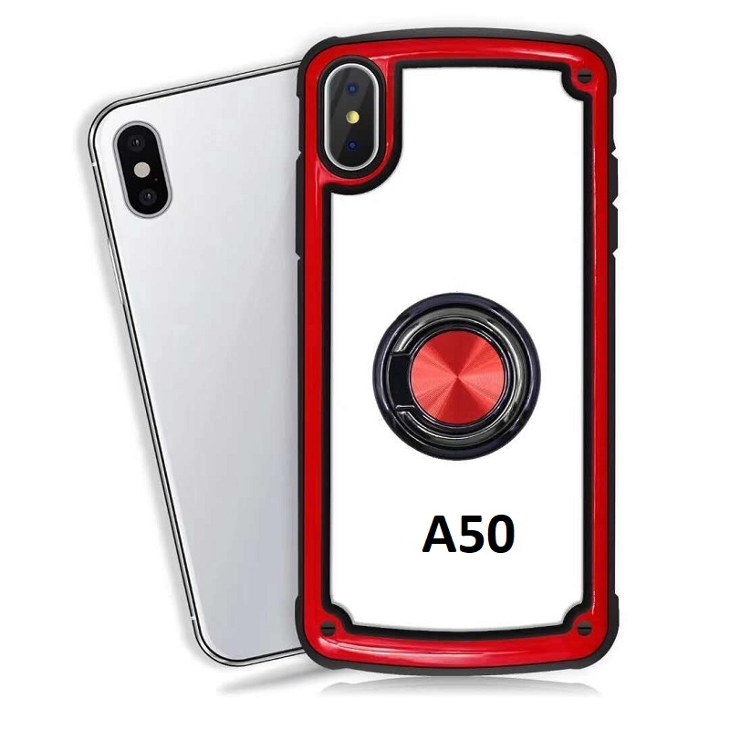 Samsung Galaxy A50 Clear Back Shockproof Cover With Ring Holder Red