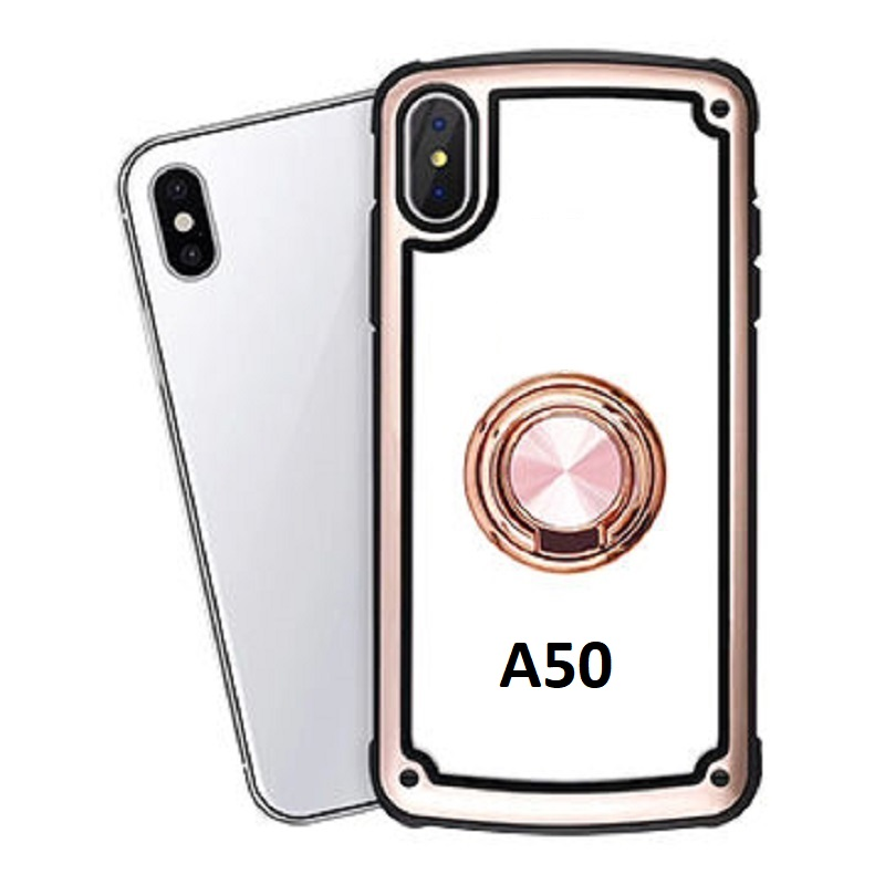 Samsung Galaxy A50 Clear Back Shockproof Cover With Ring Holder Rosegold