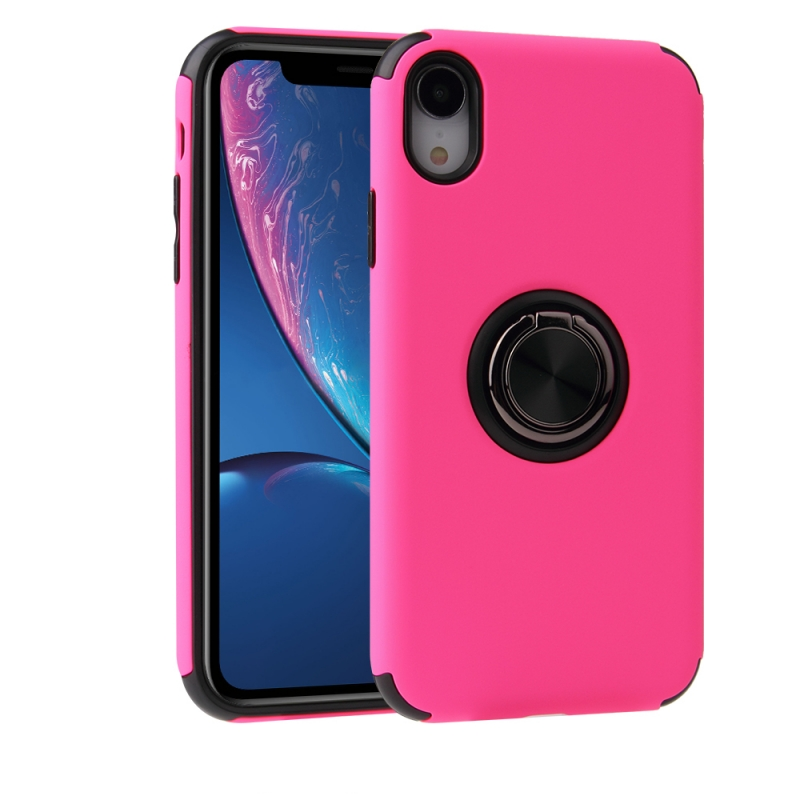 iPhone XR Magnetic Ring Holder Cover HOT PINK