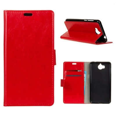 Huawei Y6(2017) PU Leather Wallet Case Red