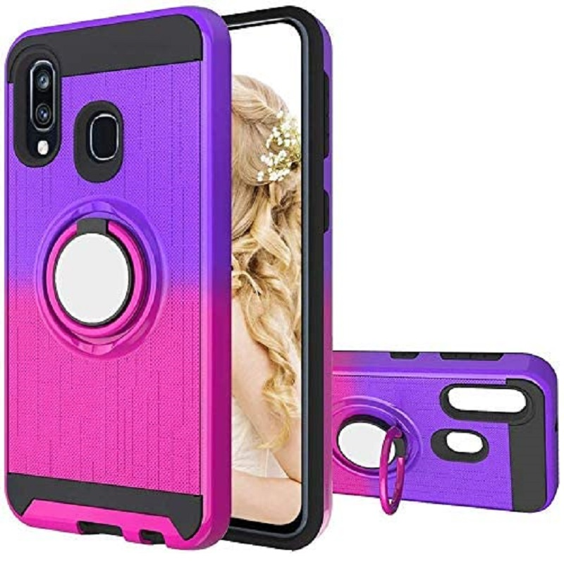 Samsung Galaxy A40 Multi Color Ring Armor Cover - Purple/Hotpink