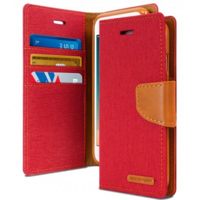 iPhone 7/8 Plus Canvas Wallet Case  Red