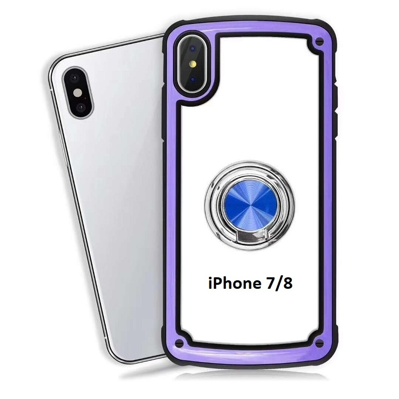 iPhone SE(2nd Gen) and iPhone 7/8 Clear Back Shockproof Cover With Ring Holder Purple