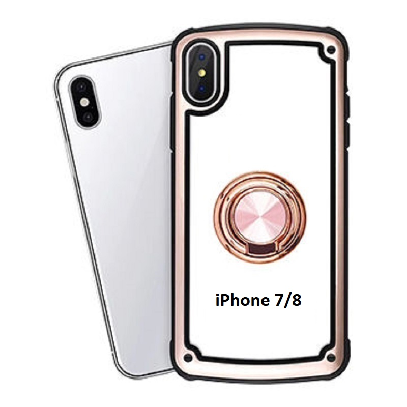 iPhone SE(2nd Gen) and iPhone 7/8 Clear Back Shockproof Cover With Ring Holder Rosegold