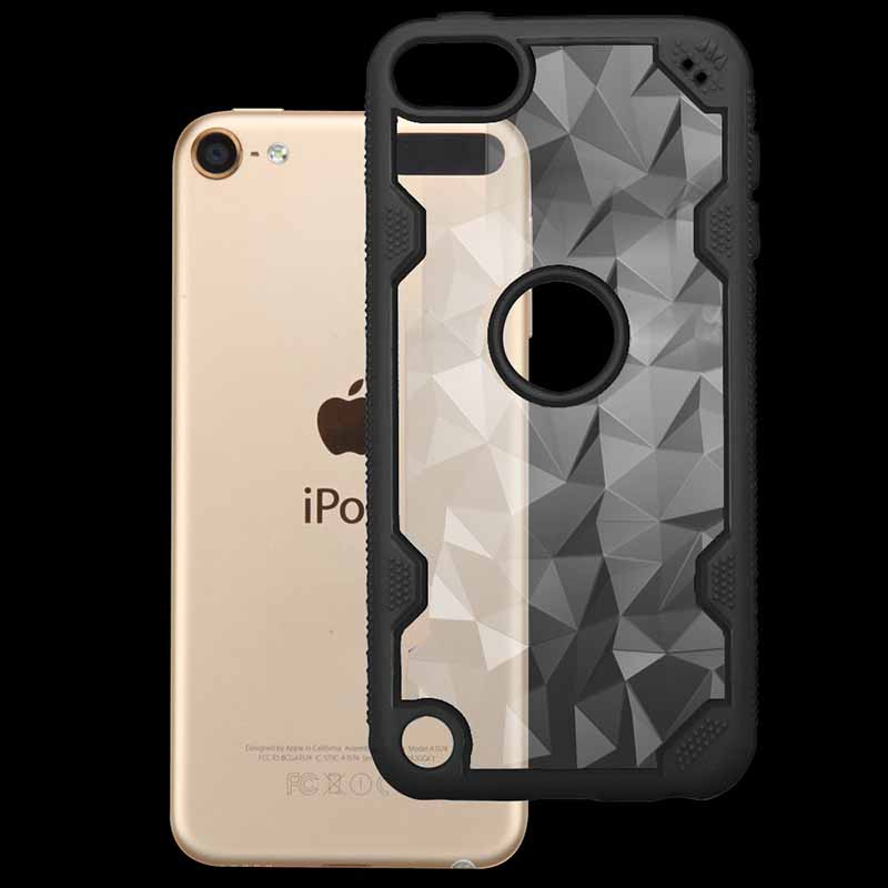 00647d1b95 iPod Touch (6th Generation) MYBAT Transparent Clear Polygon/Black  Challenger Hybrid Protector Cover