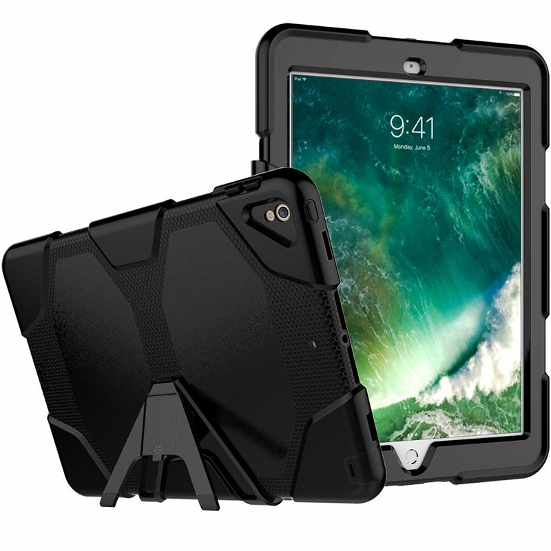 new styles fbe1f 91f21 iPad Pro 10.5 Inch Case Three Layer Heavy Duty Shockproof Protective with  Kickstand Bumper Cover Black