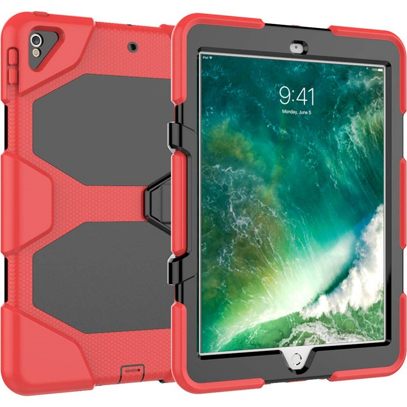 watch 1f537 52197 iPad Pro 10.5 Inch Case Three Layer Heavy Duty Shockproof Protective with  Kickstand Bumper Cover Red