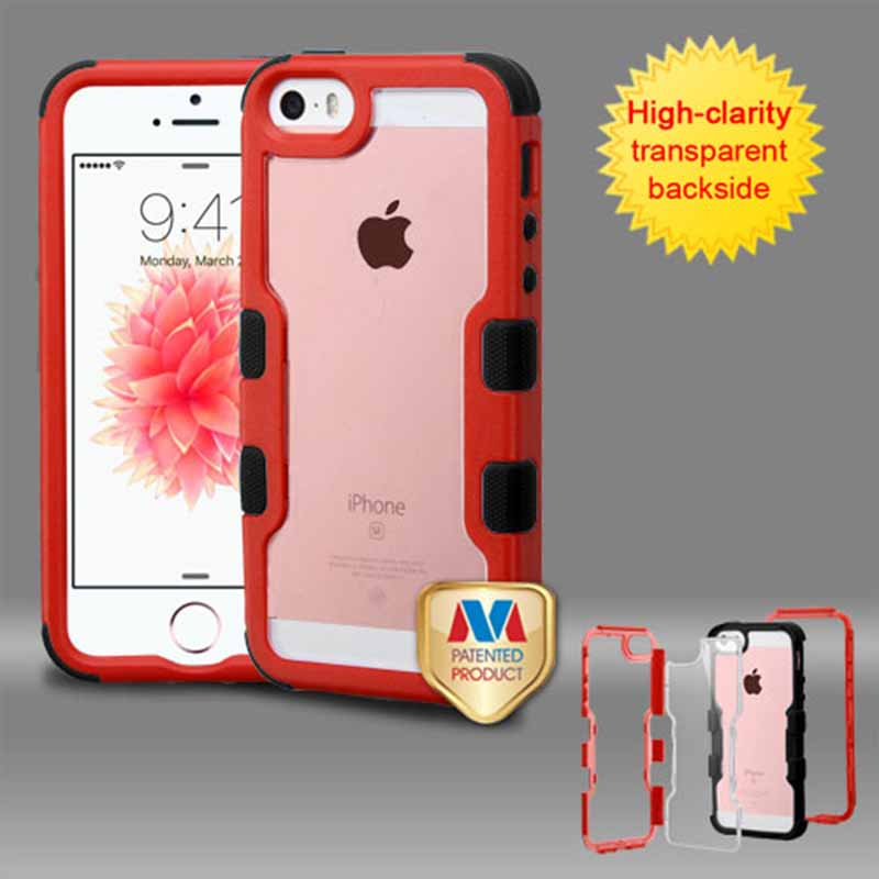 mobiletech-iphone-5-mybat-Natural-REd-Frame-Transparent -Black-TUFF-Vivid-Hybrid-Protector-Cover