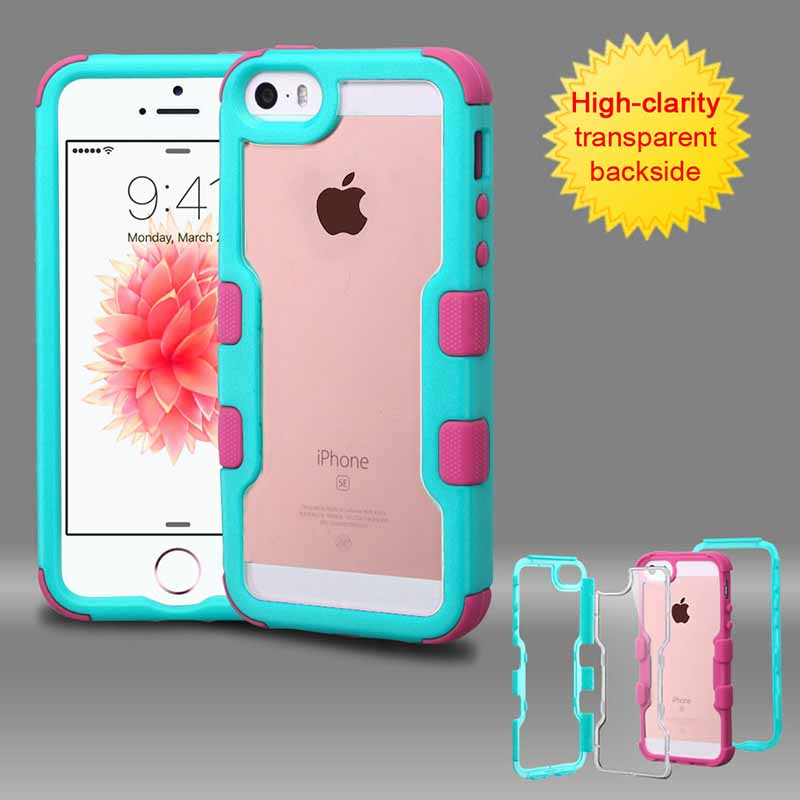 mobiletech-iphone-5-mybat-Natural-teal-green-Frame-Transparent -eLEctric-Pink-TUFF-Vivid-Hybrid-Protector-Cover