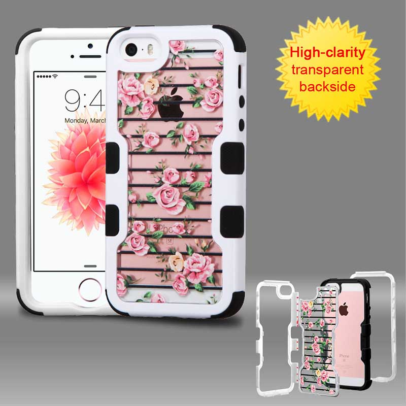 mobiletech-iphone5-mybat-Natural-Ivory-White-Frame-Transparent-Pink-Fresh-Roses-PC-Back-Black-TUFF-Vivid-Hybrid-Protector-Cover