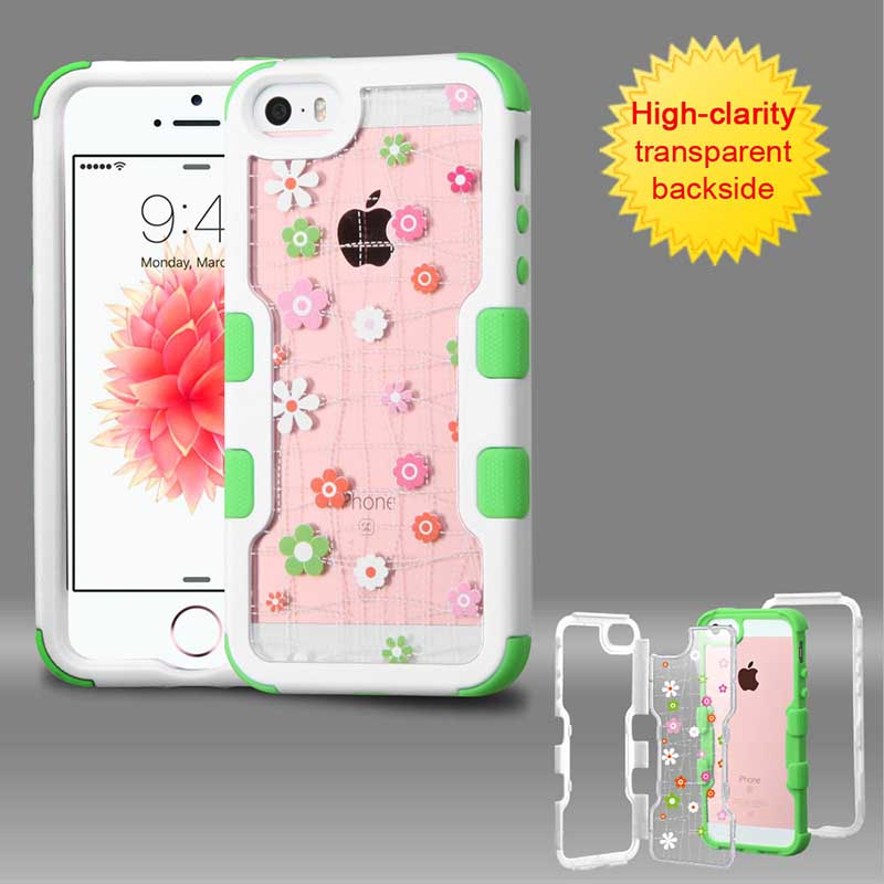 mobiletech-iphone5-mybat-Natural-Ivory-White-Frame-Transparent-Tiny-Blossoms-PC-Back-Electric-Green-TUFF-Vivid-Hybrid-Protector-Cover