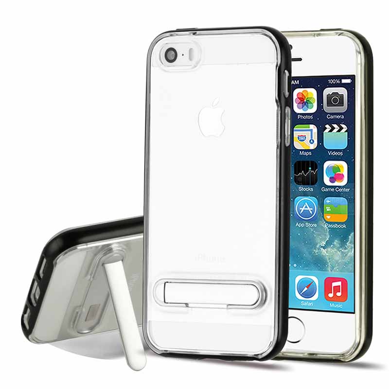 mobiletech-iphone-5-mybat-Black-Transparent-Clear-Hybrid-Protector-Cover-with-Magnetic-Metal-Stand