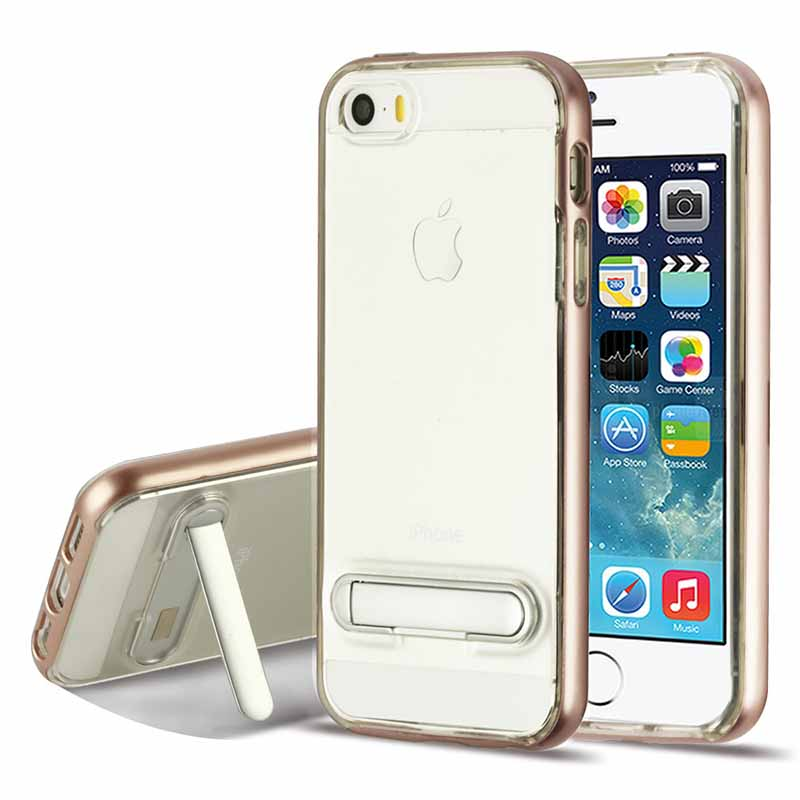 mobiletech-iphone-5-mybat-RoseGold-Transparent-Clear-Hybrid-Protector-Cover-with-Magnetic-Metal-Stand