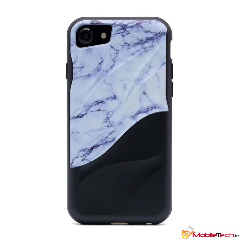 mobiletech-iPhone7-8-Marble-Grain-Cover-Case-Black&White