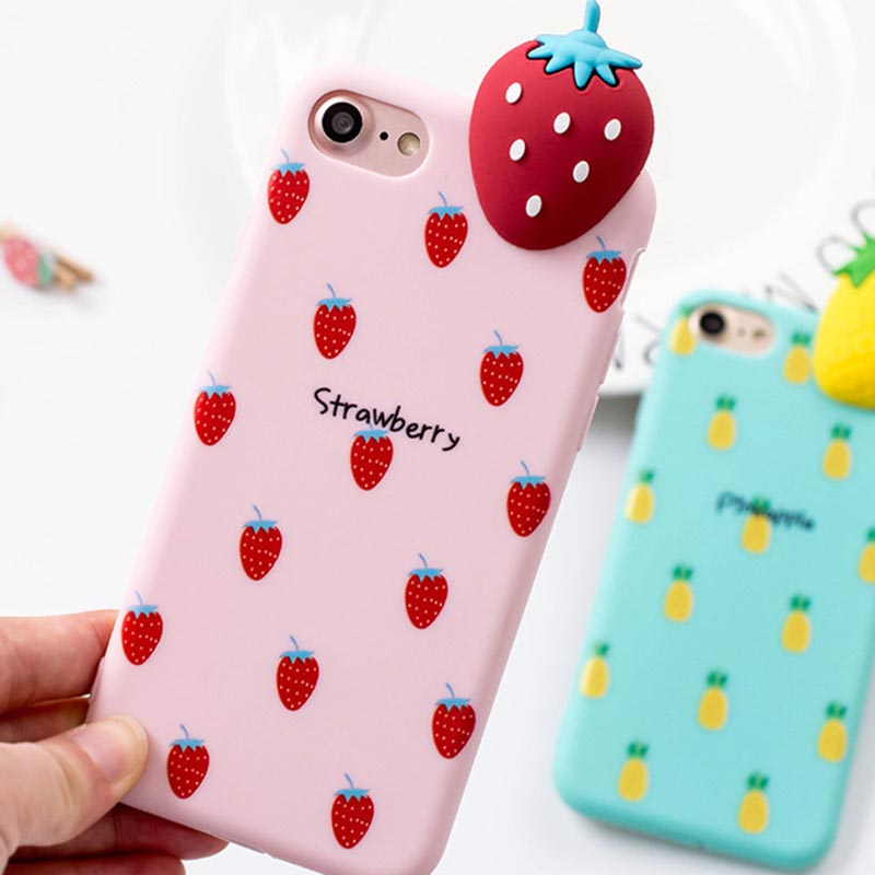 buy popular 703e0 d9705 iPhone 7 / iPhone 8 Case 3D Fruit Summer Soft Strawberry