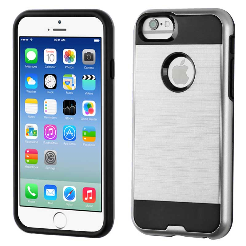 reputable site a044d aba40 iPhone 6S/6 MyBat ASMYNA Silver/Black Brushed Hybrid Protector Cover