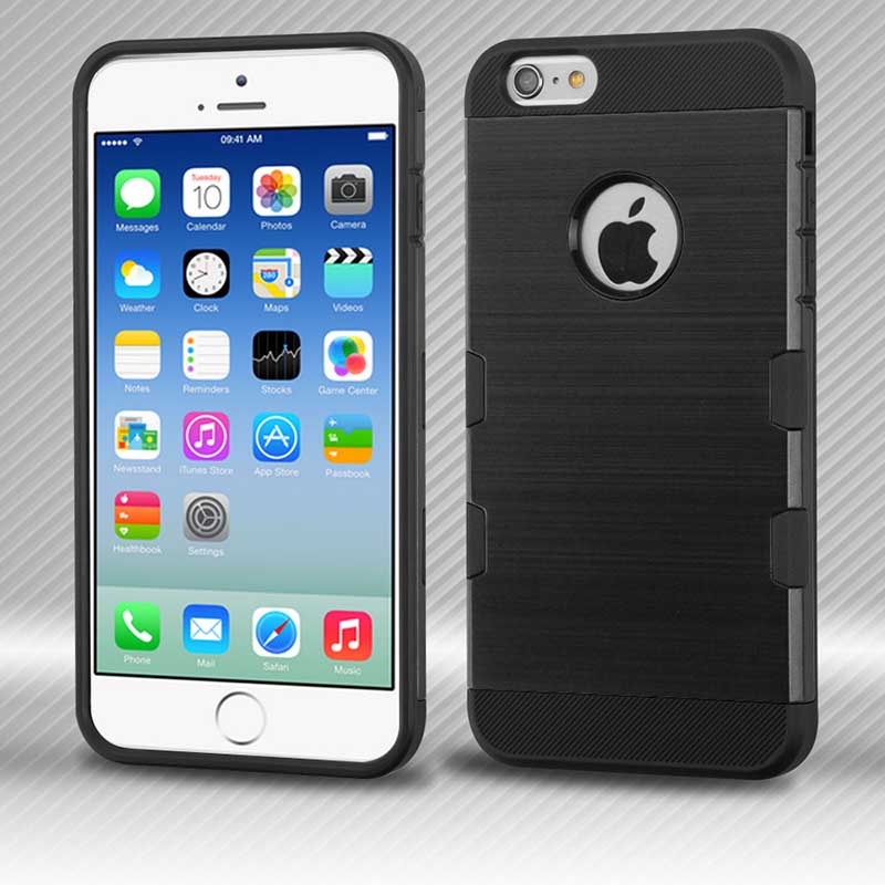 mobiletech-iphone6-Black-Black-Brushed-TUFF-Trooper-Hybrid-Protector-Cover