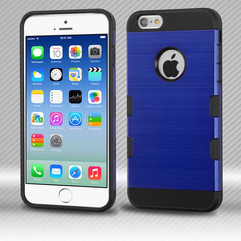 mobiletech-iphone6-Blue-Brushed-TUFF-Trooper-Hybrid-Protector-Cover