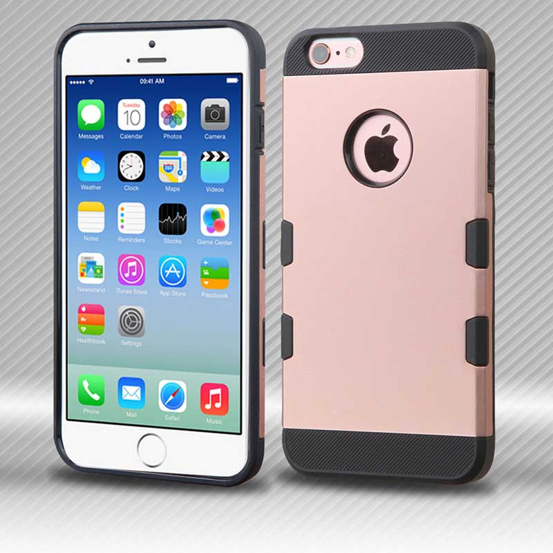 mobiletech-iphone6-MYBAT-Rubberized-RoseGold-Black-TUFF-Trooper-Hybrid-Protector-Cover