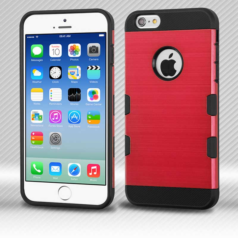 mobiletech-iphone6-Red-Black-Brushed-TUFF-Trooper-Hybrid-Protector-Cover