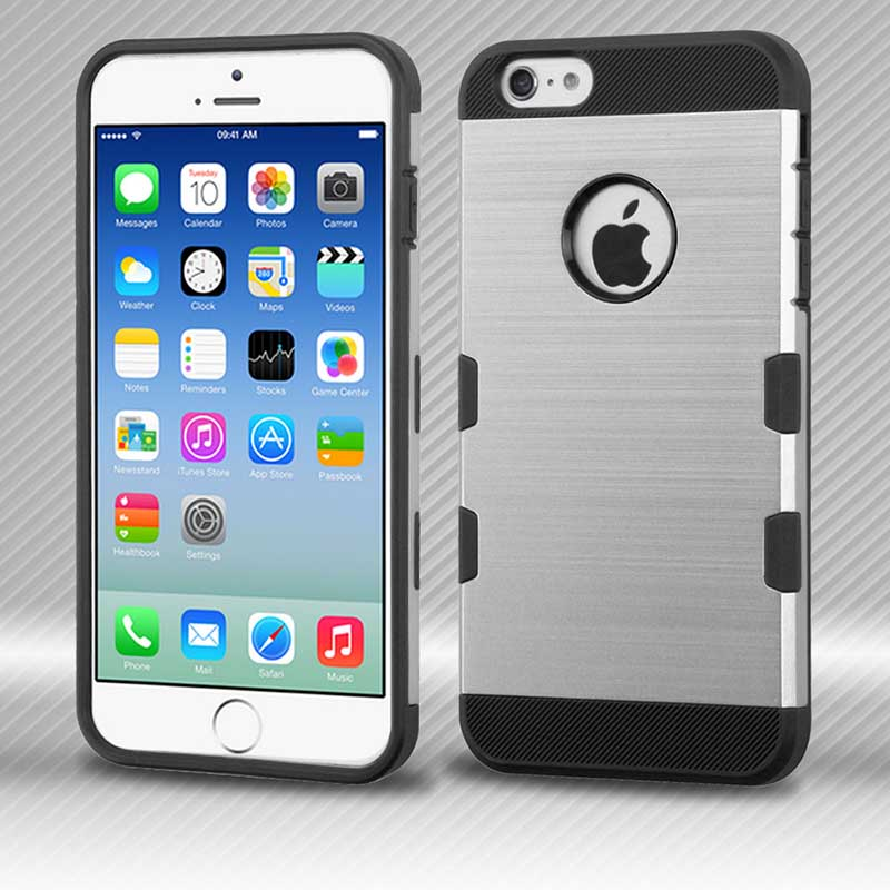 mobiletech-iphone6-Silver-Black-Brushed-TUFF-Trooper-Hybrid-Protector-Cover
