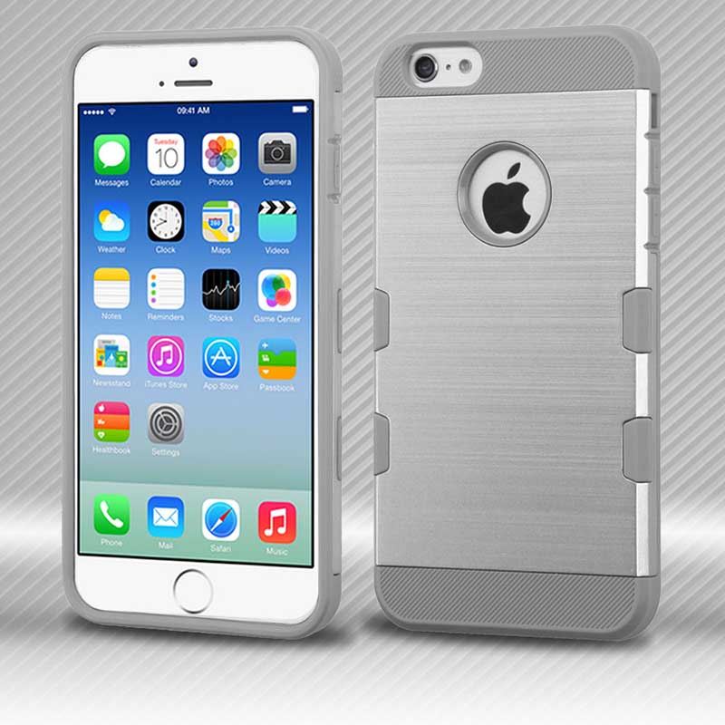 mobiletech-iphone6-Silver-IronGrey-Brushed-TUFF-Trooper-Hybrid-Protector-Cover