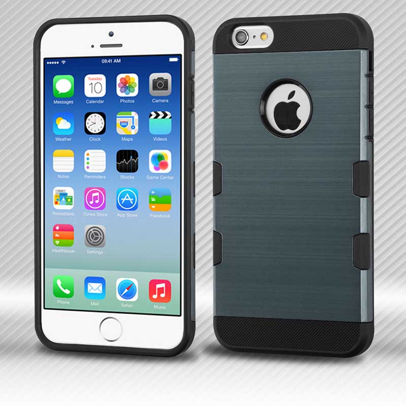mobiletech-iphone6-SlateBLue-Black-Brushed-TUFF-Trooper-Hybrid-Protector-Cover