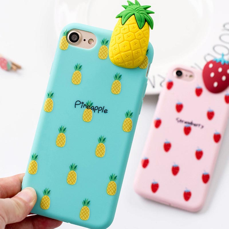 buy popular 44ecb bb31a iPhone 7 / iPhone 8 Case 3D Fruit Summer Soft Pineapple