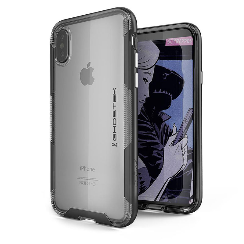 mobiletech-Ghostek-Cloak-3-Clear-Protective-Rear-Case-Cover-for-Apple-iPhone-X-Black