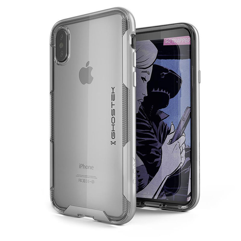 mobiletech-Ghostek-Cloak-3-Clear-Protective-Rear-Case-Cover-for-Apple-iPhone-X-Silver