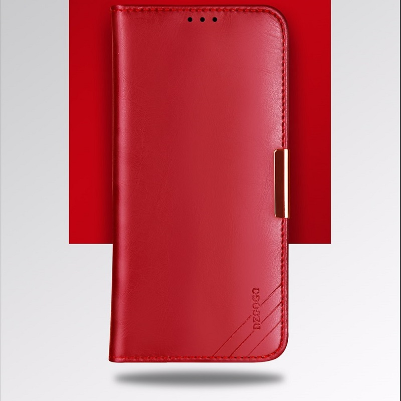 reputable site db8ba 73506 iPhone XR Case Genuine Leather Wallet- Wine Red