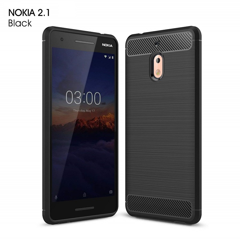 wholesale dealer 70703 f80fe Nokia 2.1 Hybrid Carbon Fiber Rubber Case Black