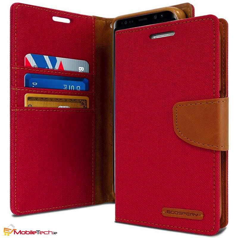 mobiletech-samsung-galaxy-a8-2018-goospery-canvas-diary-cases-cover-red
