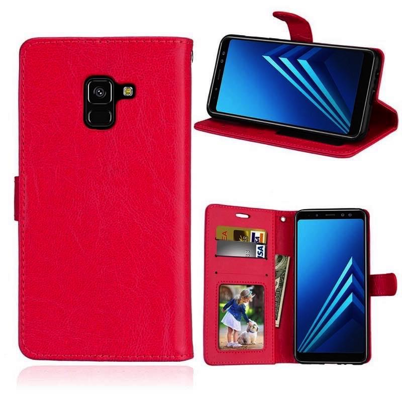 info for 4fb8f 481e7 Samsung Galaxy A8(2018) PU Leather Wallet Case Red